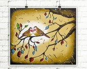 Love Birds Wall Art Print, Tree Branches Bedroom Decor, Nature Inspired Brown Earth Tone Wall Decor Wedding Gift 12x14
