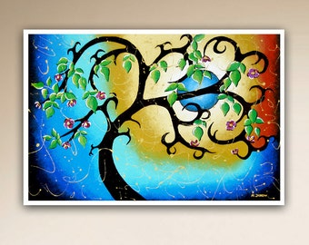 Tree Art PRINT, Blue Wall Art, Whimsical Tree of Life Moon Art, Curly Tree Woodland Wall Decor, Signed Print