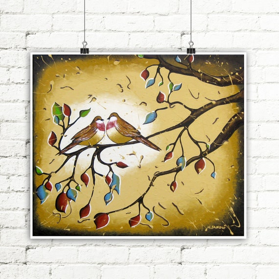 Sparrow Love Birds in Branches Art Print Bedroom Decor, Rustic Earth Tone Artwork Gift for Couples