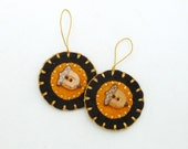 Hand Sewn Fall Acorn Ornaments with Porcelain Buttons- Set of 2
