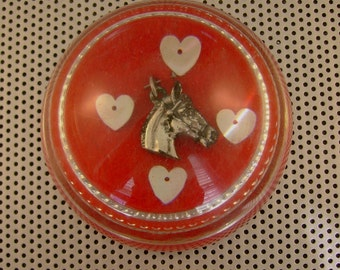 Vintage Silver Horse Heart Shaped Buttons Red Glass Dome Paperweight, Valentines Gift for Horse Lover