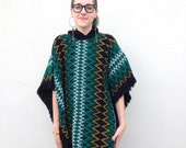 Vintage Black & Emerald GREEN Patterned STRIPED Poncho Bohemian Fall Winter Cape PONCHO with Fringe