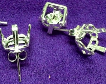 1 pair of ~ Sterling Silver ~ 10mm to 14mm Square Regalle Earring settings / Mountings ~ to be ordered ~ #089 ~ FDK