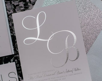 Foil  - All Silver Glitter Wedding Invitations - SAMPLE (Leslie)