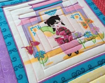 Geisha mug rug - bright and fun - oversized coaster - Mini Placemat 11 inch