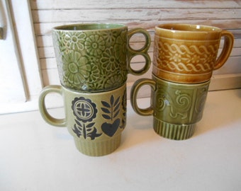 4 Mismatched Vintage Retro Stacking Avacado Green Golden Brown Mugs Japan 1960s 1970s