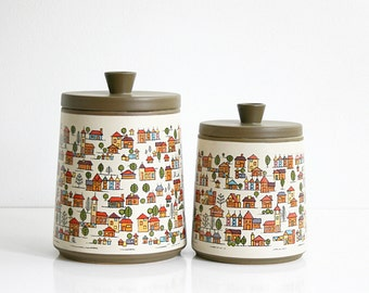 Vintage Country Village Stoneware Canister Set / Vintage Houses Ceramic Canisters From Japan