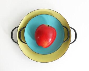 Vintage Krenit Enamel Paella Pans / Danish Modern Enamel Double Handled Skillets by Krenit / Mid Century Modern Paella Pans / Retro Cookware