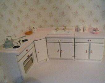 Dollhouse kitchen,miniature kitchen,pink kitchen,  white kitchen,  twelfth  scale. hand painted,  dollshouse miniature