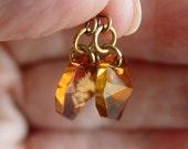 Swarovski Crystal Octogon Copper Color Earrings