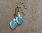 Cute Petite Blue Heart Earrings