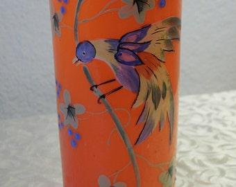 ORANGE Vase with Handpainted Bird...Czech Glass