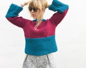 Bright Modern Textured Knit Pullover