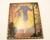 Antique Silhouette Picture Courting Couple Dancing