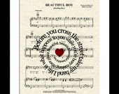 Beautiful Boy Song Lyric Sheet Music Art Print, John Lennon 's Music Art Print, Custom New Baby Gift, Spiral Song Lyric Art, Nursery Art