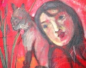 Figurative giclee print red abstract art girl with cat