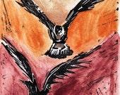 Ravens in Sunrise Linoleum Relief Print