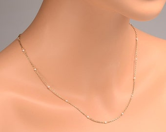 """Japanese (Akoya) Cultured Pearl and 18kt Gold Necklace:  20 inch length - True Akoya Pearls - 20"""""""