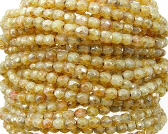 4mm Faceted Opaline Honey Drizzle Picasso Firepolish Czech Glass Beads - Qty 50 (DW21)