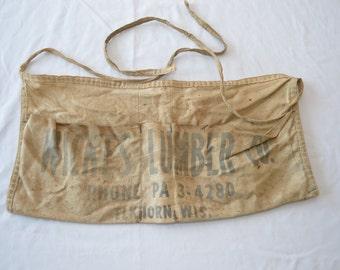 Vintage WICKES LUMBER ELKHORN Advertising work shop apron carpenter 1950's wisconsin
