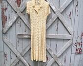 Dress Barn 1990s yellow floral dress 12 M L