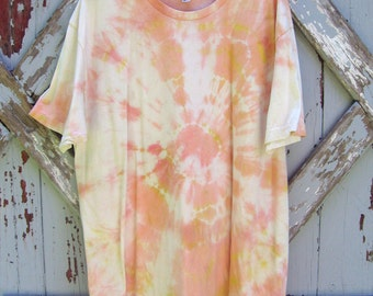 Oranges and yellows - organic tie dyed tee - XL XXL