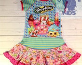 SHOPKINS - a dress made out of authentic SHOPKINS tee -  cool funky recycled upcycled  pieced  size 5