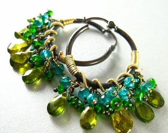 25% Off Summer Sale Gemstone Hoops, Green and Blue Gemstone Oxidized Silver, Wire Wrapped Hoops