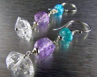 25% Off Summer Sale Herkimer Diamonds With Apatite And Amethyst Dangle Sterling Earrings