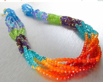 25% Off Summer Sale Colorful Multi Strand Gemstone Necklace