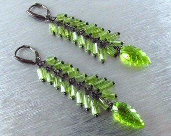 Long Peridot With Oxidized Sterling Silver Earrings