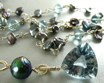 20 % Off Long Blue Topaz and Grey Pearl Necklace, Wire Wrapped Long Necklace, Versatile Necklace