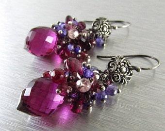 20 % Off Spinel, Quartz and Rhodolite  Garnet Cluster Earrings - Gemstone Post Earrings