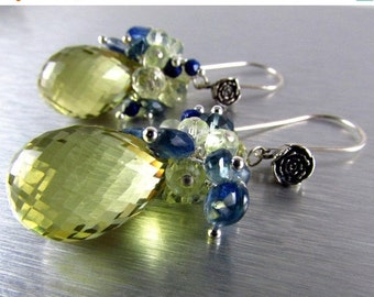 20 % Off Lemon Quartz With Kyanite And Lapis Lazuli Gemstone Dangle Cluster Earrings