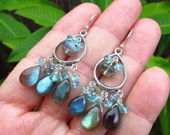 BIGGEST SALE EVER Labradorite and Apatite Sterling Silver Chandelier Earrings
