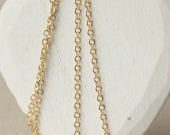 "28"" gold plated chain necklace 16K SMALL gold plated chain necklace 2mm link anti tarnish gold chain SF66"