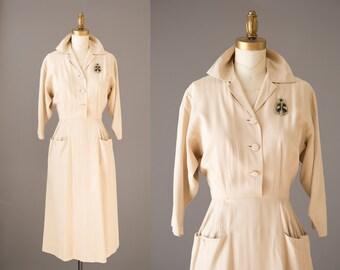 Rosie's Earthy Delight Dress   1940s khaki rayon dress   40s curvy pin up dress