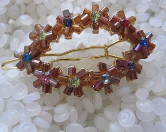 vintage barrette, pink bead flowers, colorful rhinestone center,