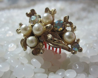 vintage hair comb tiny with bright rhinestones and creamy pearls