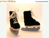 50% OFF SALE Black Ice Skates Crochet Baby Booties 0-6 Months