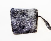 Grey Wristlet, Mini Purse, Handbag, Cell Phone Wallet, Fabric Wristlet, Grey Bag, Grey Clutch, Grey with Twig Like Pattern