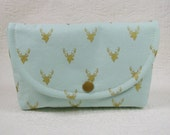 Large Snap Pouch ... Deer Heads in Metallic Gold on Mint