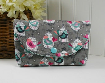 Snap Pouch,Large Snap Pouch, Travel Pouch, Accessory Pouch .. Songbirds in Slate