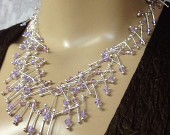 "Purple long necklace Swarovski crystals violet and Amethyst purples-fired ""Sticks"" Handmade-Funky"