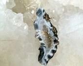 50% OFF SALE Agate Druzy Slice Necklace  Sterling Silver Raw Gem Stone Slab Slice Raw Mineral Jewelry