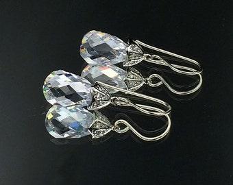Clear Crystal CZ Diamond Look Dangle Earrings Pave Diamond CZ Drop Earrings Red Carpet Black Tie Earrings Wedding Prom Earrings