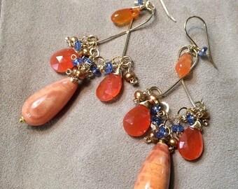 50% SALE Gold Chandelier Earrings, Multicolor Wire Wrap Orange Earring, Bohemian Boho Chic Earring Orange Carnelian, Fire Agate, Kyanite, Pe