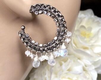 Moonstone Hoop Earrings, Oxidized Silver Hoop Earrings, Moonstone Wire Wrapped Statement Earrings, Luxury Gemstone Bohemian Hoop Earrings