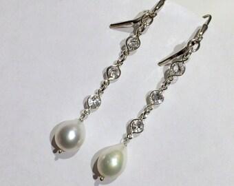 Long Pearl Crystal Bridal Earrings Wedding Jewelry Ivory Pearl Earrings Long Silver Swarovski Crystal Long Dangle Earrings Prom Earrings