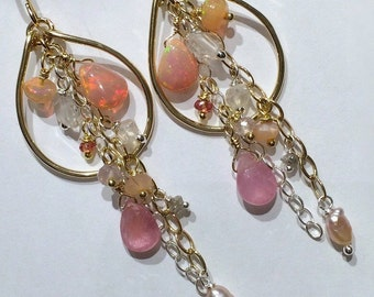 Opal Hoop Earring Gold Hoop Earring Pastel Gem Hoop Gemstone Chain Chandelier Boho Chandelier Beaded Gold Hoop Blush Opal Hoop Ready to Ship